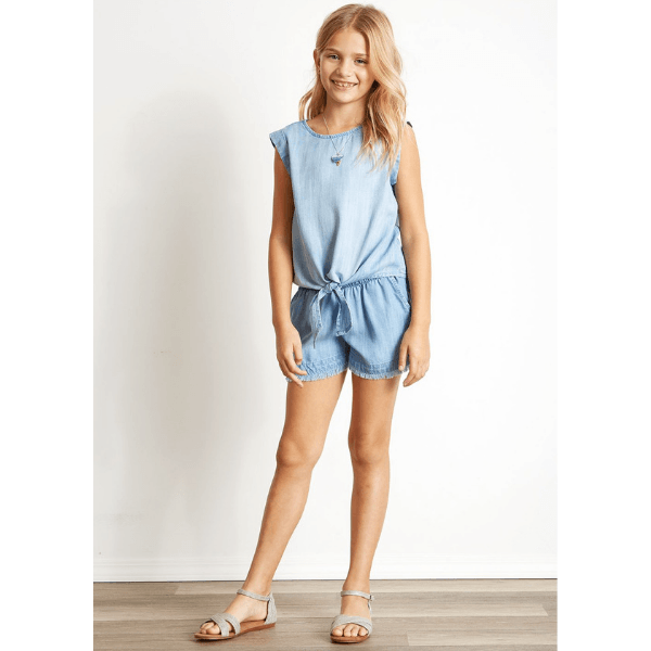 bella dahl denim tie front top for girls