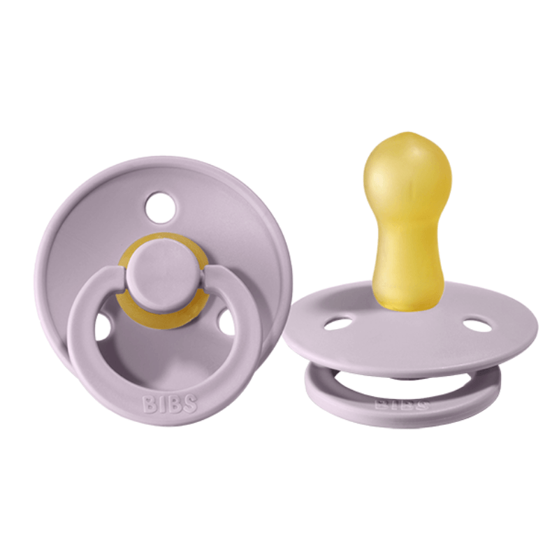 BiBS classic round pacifier set of two, dusky lilac