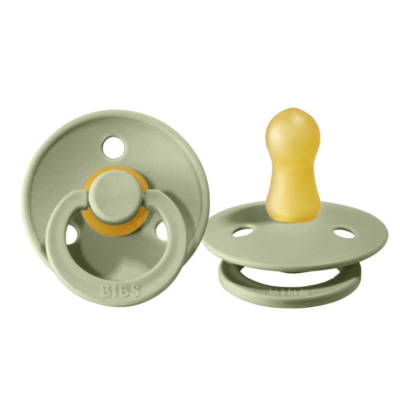 BiBS classic round pacifier set of two, sage