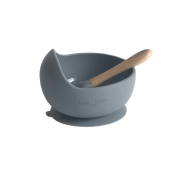 bug and bean kids silicone bowl and spoon set cloud blue
