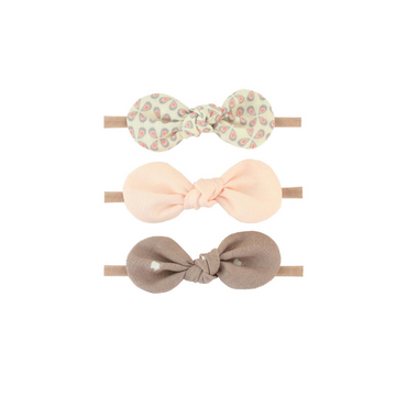 baby headband bow set of three, pink and brown