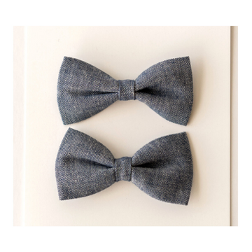 britts bows pigtail hair bow set of 2 chambray