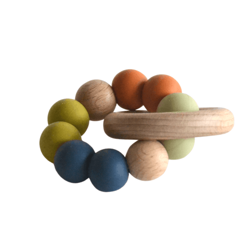 Silicone + Wood Teether Toy, Harvest