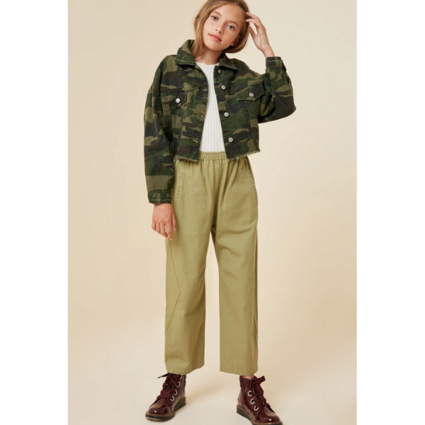 camo cropped denim jacket functional button-down closure for tween girls