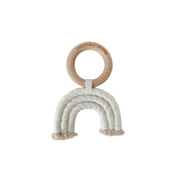 rainbow macrame teether, cream
