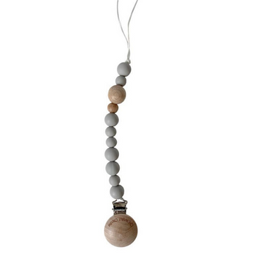 chewable charm beaded pacifier clip, wood + grey