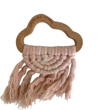chewable charm cloud macrame teether, blush