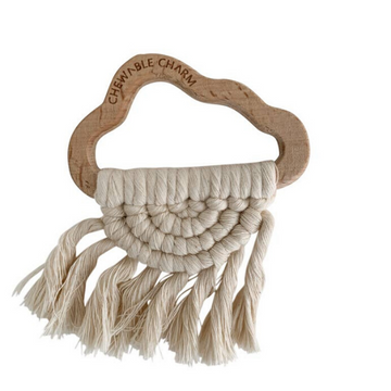 chewable charm cloud macrame teether, cream
