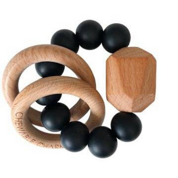 chewable charm hayes silicone and wood teether, black
