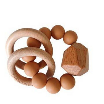 chewable charm hayes silicone and wood teether, terra cotta