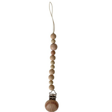 chewable charm petite beaded pacifier clip, tan