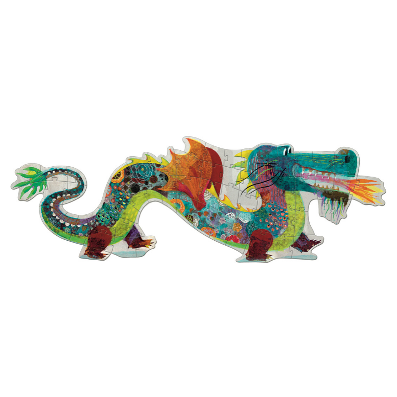 djeco 58 piece dragon floor puzzle for toddlers and families
