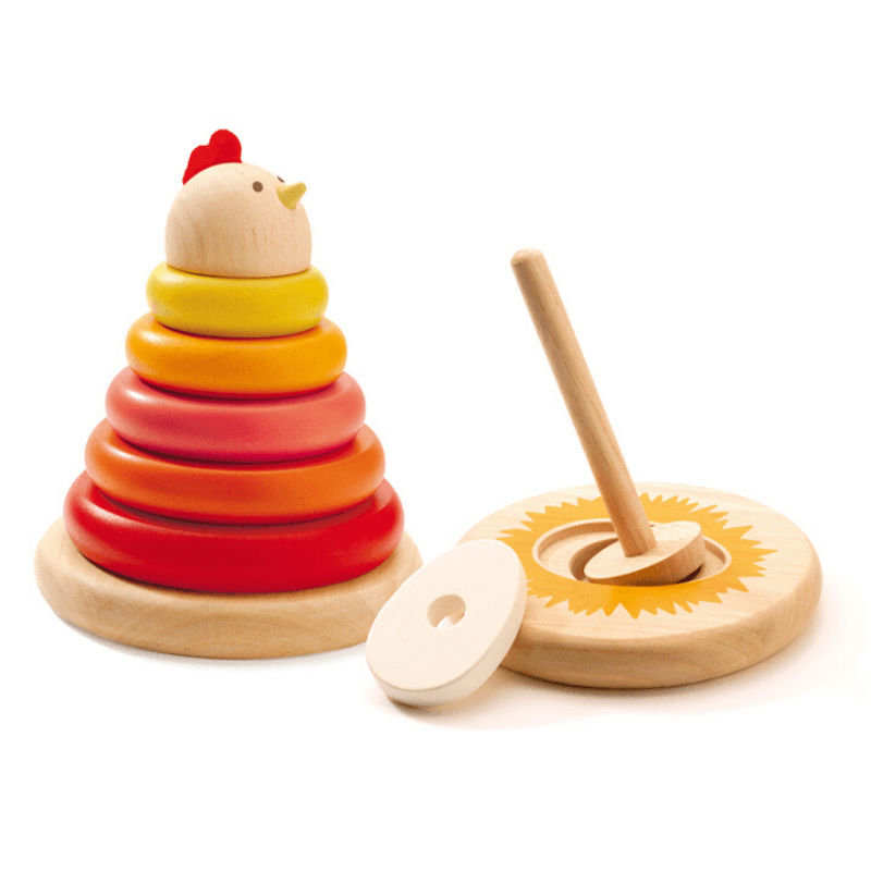 djeco bright wooden hen stacking toy