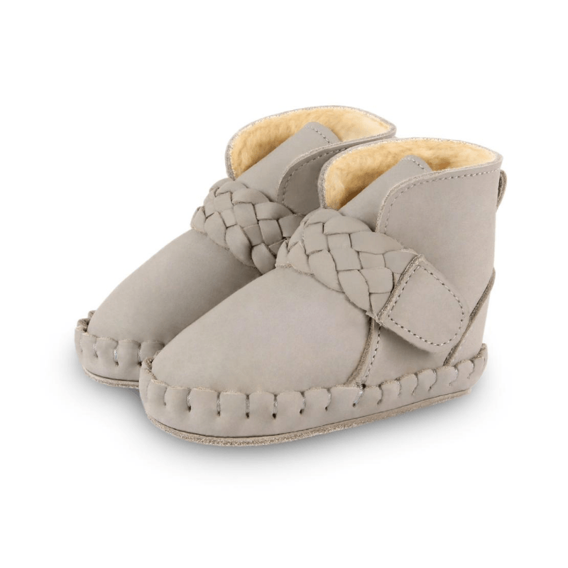 Mace Shearling Leather Baby Boots, Elephant Grey