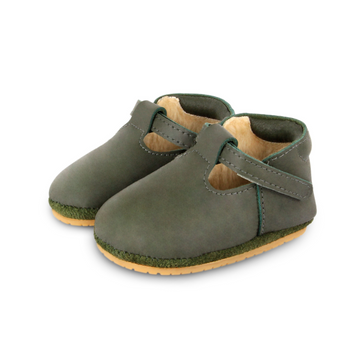 donsje elia leather baby shoes, olive