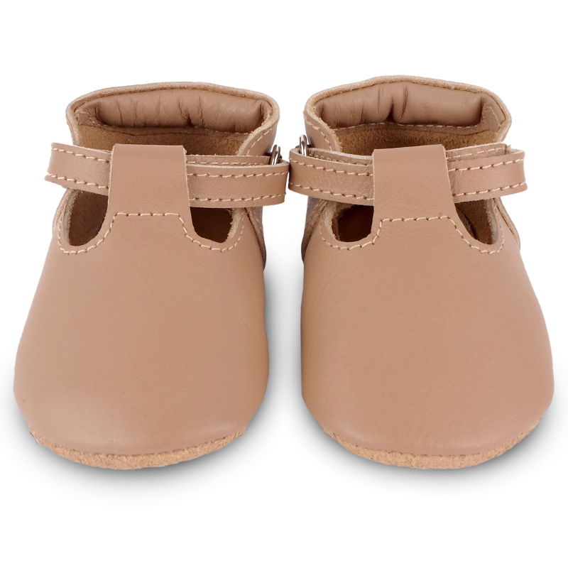 donsje elia leather baby shoes praline front view