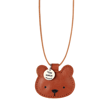 leather wookie necklace, bear