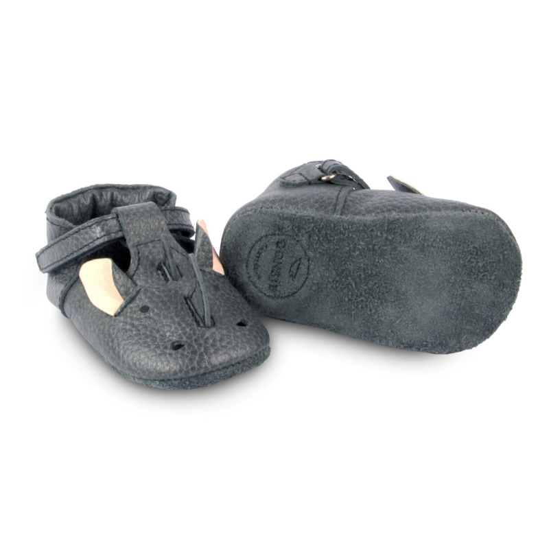 spark leather baby booties, rhino