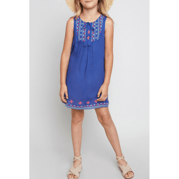 embroidered tassel tie dress