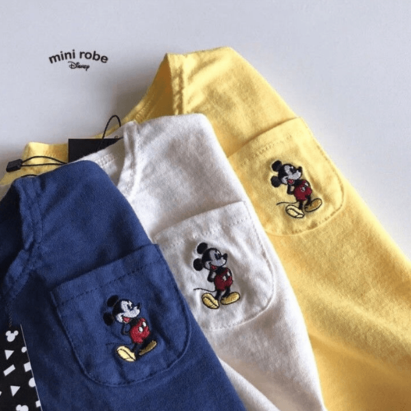 embroidered mickey mouse cotton tee for babies