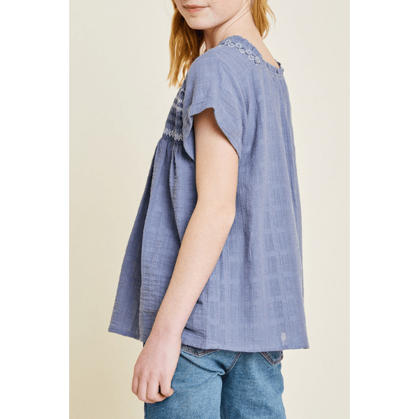 embroidered smocked top in dark blue for tween girls