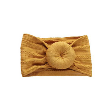 emerson and friends cable knit bun headband, mustard