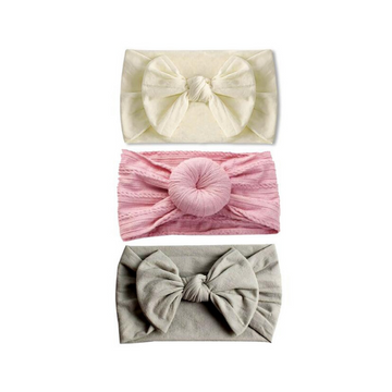 emerson and friends nylon headband set, pink cream and gray