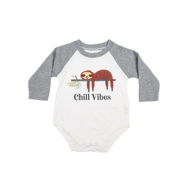 emerson and friends sloth baseball style baby bodysuit