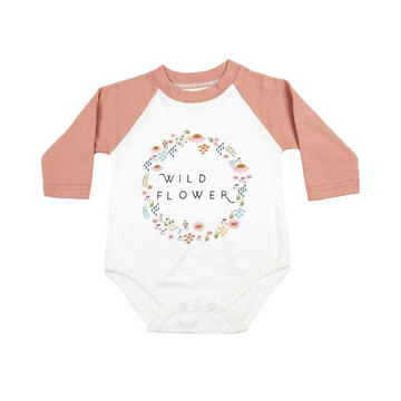 emerson and friends wildflower baseball style baby bodysuit