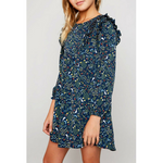 floral printed dress with ruffled yoke