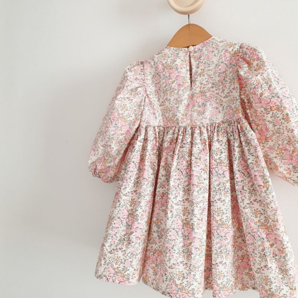 floral print toddler dress with back button closure