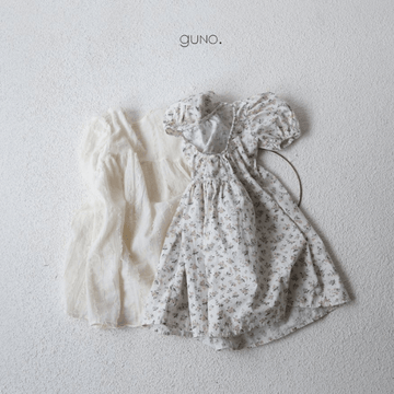 guno lena dress in ivory and floral