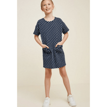 hayden cotton polka dot dress navy and white for tween girls mini