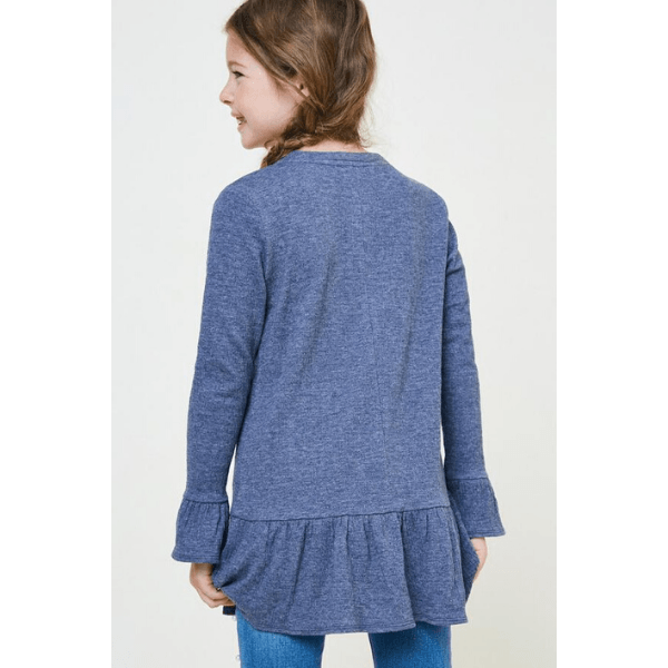 hayden cotton ruffle button-down tunic in navy for tween girls
