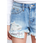 distressed denim shorts with sequin pocket detail