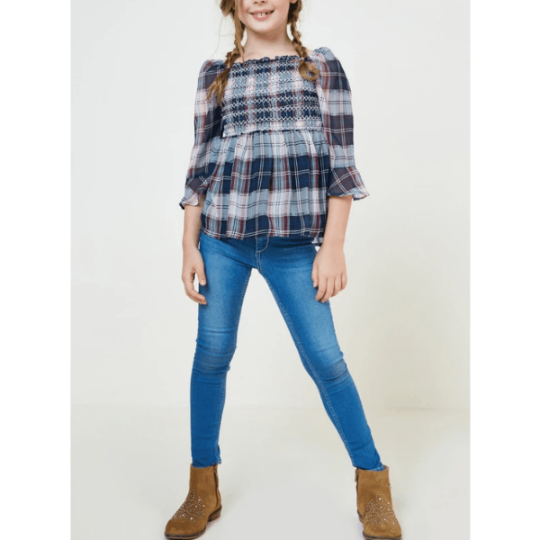 hayden embroidered plaid smock top for tween girls