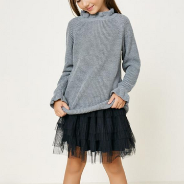 hayden high neck ruffle sweater top