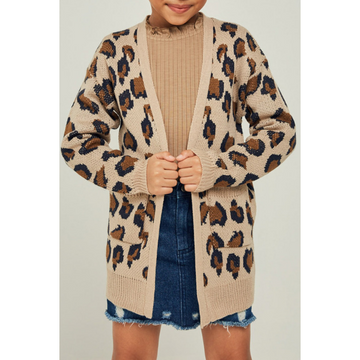leopard knit sweater cardigan