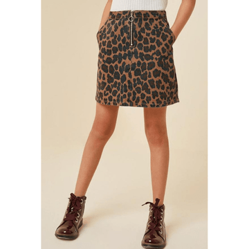 stonewashed leopard denim skirt