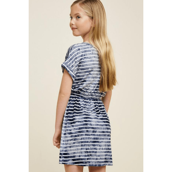hayden navy and white stripe dress with drawstring detail for girls