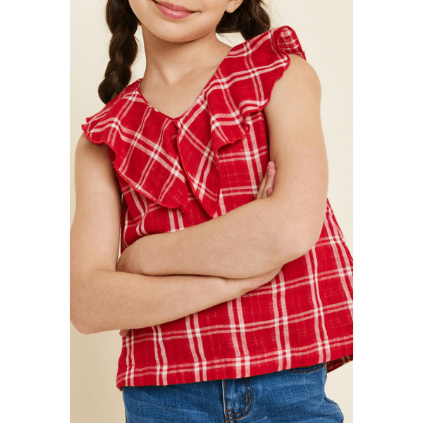 hayden plaid ruffle collar tank in red