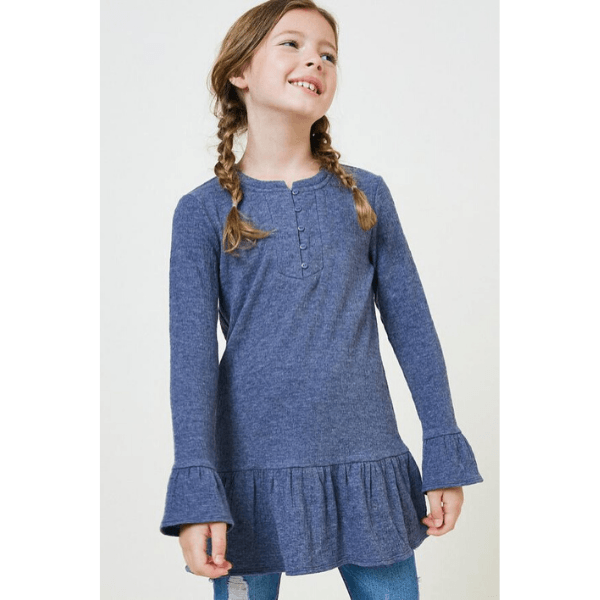 ruffle button-down tunic