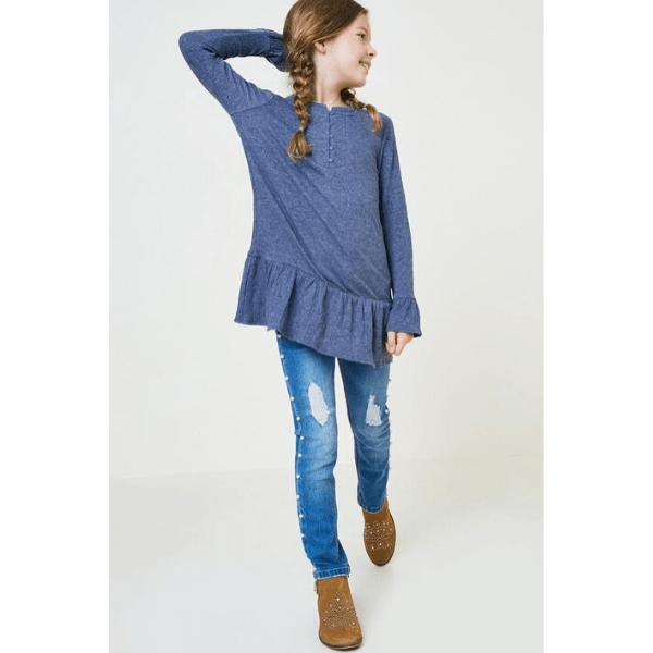 hayden ruffle button-down tunic in navy for tween girls