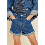 scallop roll-up denim short