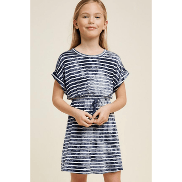 hayden tie dye stripe mini dress in navy and white for tween girls