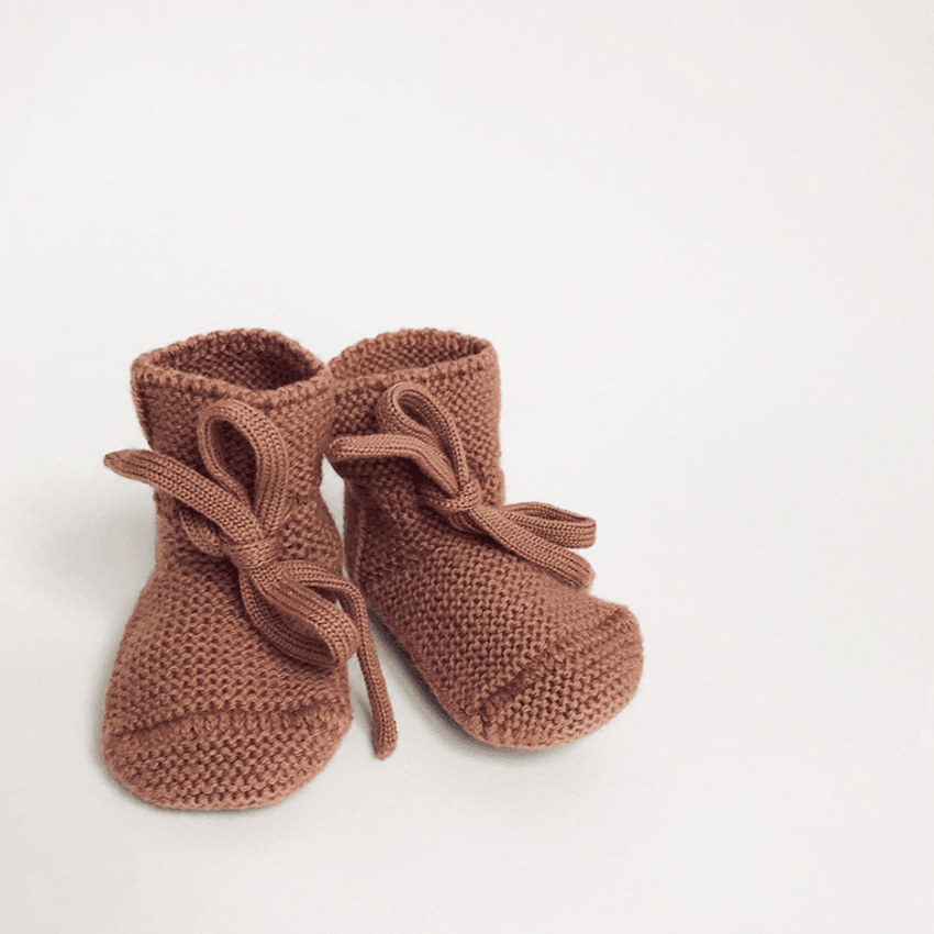Merino Wool Booties, Brick