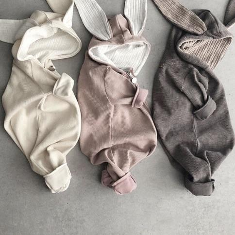 Lala Hooded Bunny Ears Romper, Cream