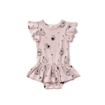 avocado print dress onesie in powder pink