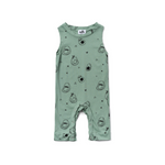 avocado print tank jumpsuit in green