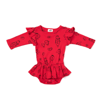 kira kids bread print dress onesie red for baby girls